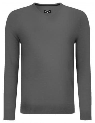 V-neck merino sweater herr med brodyr