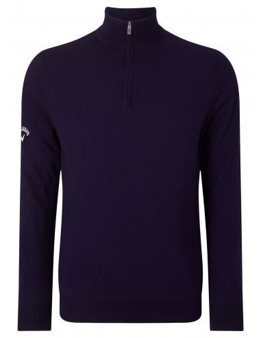 1/4 zip merino sweater med brodyr