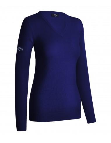V-neck merino sweater med brodyr
